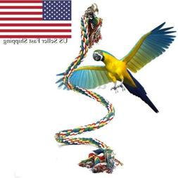 Pet Parrot Chew Rope Budgie Bell Bird Perch Coil Swing Cocka