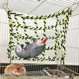 Pet Parrot Perch Birds Climbing Net Jungle Fever Swing Rope