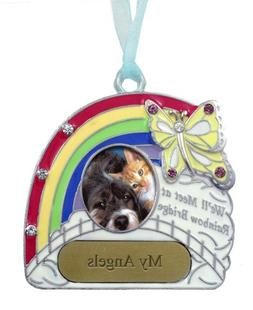 Pet Remembrance Rainbow Bridge Engravable Photo Ornament