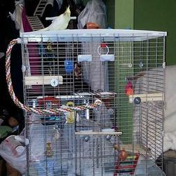 Pet Wood Corner Shelf Laddered Platform for Parrot Cockatiel