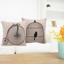 Pillow Cases - 43x43cm Birdcage Bicycle Cotton Linen Pillow
