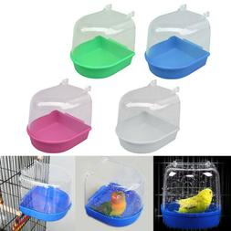 Plastic Bird Water Bath Box Bathtub Parrot For Parakeet Hang