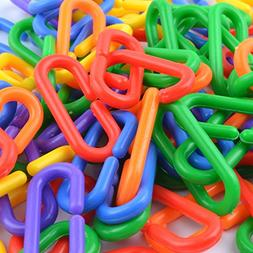 YUYUSO 100 Piece Plastic C-Clips Hooks Chain Links C-Links R