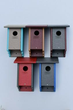 Poly Wood Bird House for Finches, Bluebirds and many other B