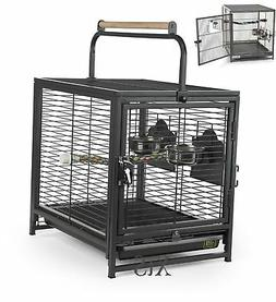 Portable Bird Cages Pet Wire Carrier Perch Feeders Parrot Pa