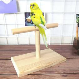Portable Wood Bird Parrot Training Spin Perch Stand Playgrou