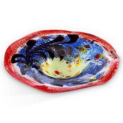 Puddle Shaped Glass Basin Bird Bath  in Blue and Red with Be