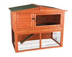 Rabbit Hutch with Peaked Roof , Glazed Pine