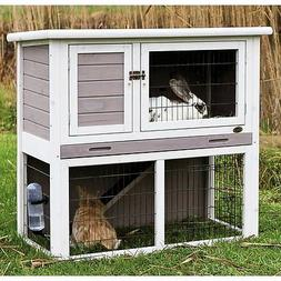Trixie Pet Products Rabbit Hutch with Sloped Roof -, Gray-Wh