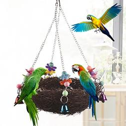 Keersi Natural Rattan Nest Large Bird Swing with Bells for P