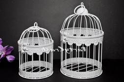 Retro Bird Cage Hanging Lantern Wedding Home Decor Set of 2