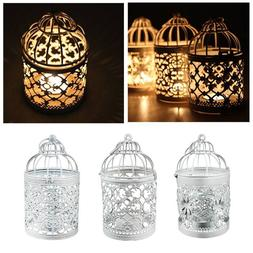 Retro Bird Cage Hollow Candle Holder Candlestick Hanging Lan