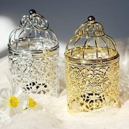Retro Bird Cage Hollow Candle Holder Tea light Candlestick H
