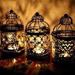 Retro Bird Cage Hollow Candle Holder Tealight Candlestick Ha