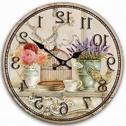 Retro Vintage Style Large Clock Bird Cage Lavender Flower Va