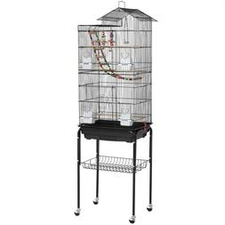 Rolling Metal Bird Cage with Detachable Stand Large Parrot C