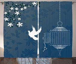 Romantic Curtains by Ambesonne, French Style Love Theme Bird