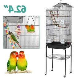 Roof Top Large Parakeet Bird Cage with Stand for Cockatiels