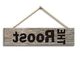 Hermosaa The Roost Chicken Coop Wood Signs 14 x 4 Inches Woo