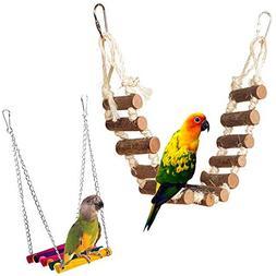 PIVBY Rope Step Ladder Bridge Bird Toy Cage Hammock Swing To