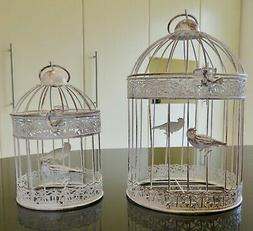 Round METAL Bird Cages set of 2  INDOOR OUTDOOR weddings gar
