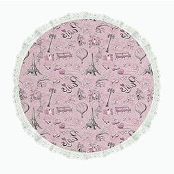 "iPrint 60"" Round Polyester Linen Tablecloth,Paris Decor,Pari"