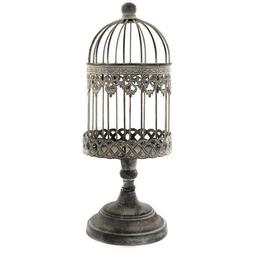 Antique Vintage Style Ornate Iron Bird Cage on Stand Shabby