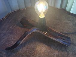 Rustic wood accent lamp, Light up your cabin, lodge. or den,