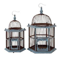 Benzara The Rustic Wood Birdcage, Set of 2