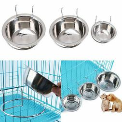 S-L Stainless Steel Hanging Food Water Bowl For Crate Cages