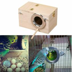Safety Wood Bird House Cages Parrot Breeding Nesting Box Vie