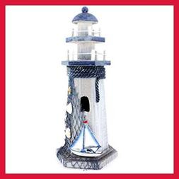 "Sail Boat Wooden Lighthouse 10"" High Nautical Themed Rooms H"