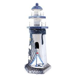 "Sail Boat Wooden Lighthouse 10"" High Nautical Themed Rooms L"