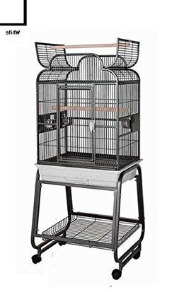HQ Scroll Top 22x17 Bird Cage and Rolling Stand w Shelf Plat