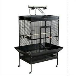 Select Wrought Iron Play Top Large Parrot Bird Cage - Black
