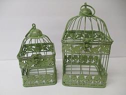 Set of 2 Decorative Home Garden Green Metal Bird Cage Square