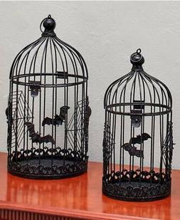 Set of 2 Metal Bat Bird Cages Gothic Halloween Haunted House