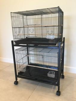 Set Of 2 Rectangular Bird Cages With Stand BRAND NEW
