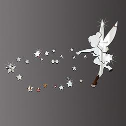 26pcs/set Tinkerbell Fairy Wall Mirror Acrylic Mirrored Deco