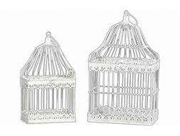 Benzara Set Of Two Antique Metal Bird Cage With Ring Hanger