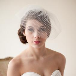 short <font><b>ivory</b></font> Blusher wedding veil <font><