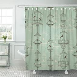 TOMPOP Shower Curtain Green Cage Vintage Birds and Birdcages