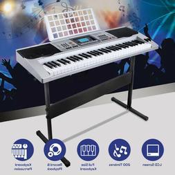 Silver 61 Key Music Digital Electronic Keyboard Electric Pia