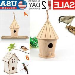 Small Bird Nest Box Wooden House For Parrot Budgies Parakeet