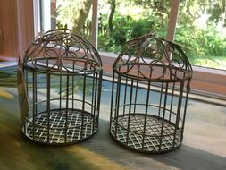 Small Metal Decorative 2 Bird Cages 5''x 3 1/2'' Gray