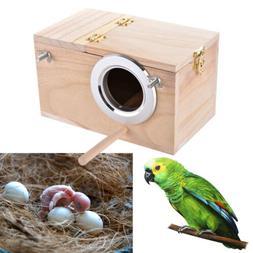 Small Parakeet Nest Wooden Box Breeding Bird Cage With Stick