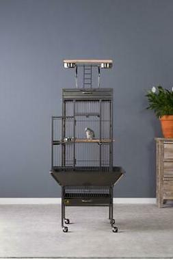 Small Wrought Iron Cockatiel Parrot Select Bird Cage w/ Whee