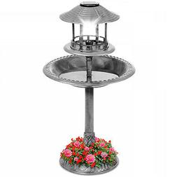 Solar Lighted Outdoor Pedestal Bird Bath w/ Planter, Decorat