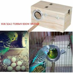 Solid Wood Nest Box Nesting Boxes For Small Birds Parrot Bud