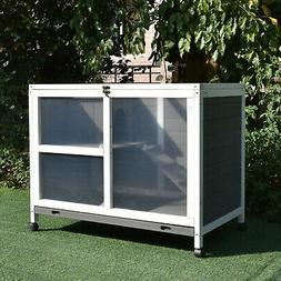 PawHut Solid Wood Rabbit Hutch/Home w/ Main Room and Cage Ar